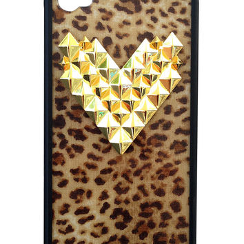 Leopard Gold Studded Heart iPhone 4/4s Case