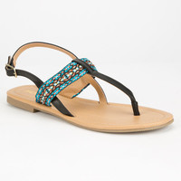 Soda Embroidered Womens T-Strap Sandals Black/Blue  In Sizes