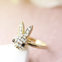Bunny Ring Women's Girl's Crystal Rabbit Ring Jewelry Adjustable Ring Size Free Animal gift idea