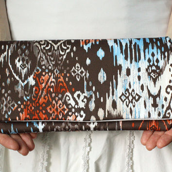 Tribal Clutch Patterned Purse in Brown Orange Blue by goodmarvin