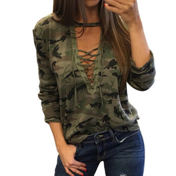 2017 Women Sexy T-Shirt Camouflage V Neck Lace Up Halter Top Shirt Ladies Loose Bandege Camo Tee Tracksuit Female Sudadera