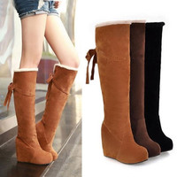 Winter Fur Lining Tall Womens Boots Fashion Knee High Platform Wedge Boots = 1932855940