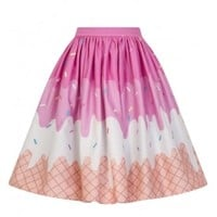 Collectif Jasmine Ice-Cream Swing Skirt | Attitude Clothing
