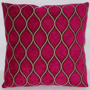 "Iman Magenta Chenille Pillow 17"" Square Gold Lattice Fuchsia Pink Soft Ready Ship Cover and Insert"