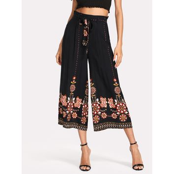 Multicolor High Waist Flower Print Wide Leg Crop Pant