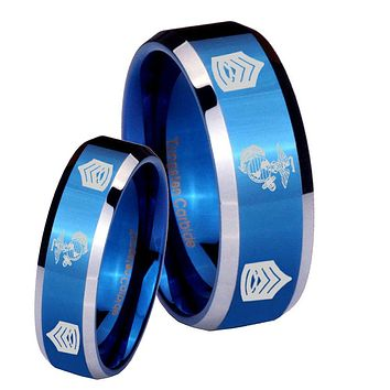 His Hers Marine Army Sergeant Beveled Edges Blue 2 Tone Tungsten Mens Wedding Ring Set