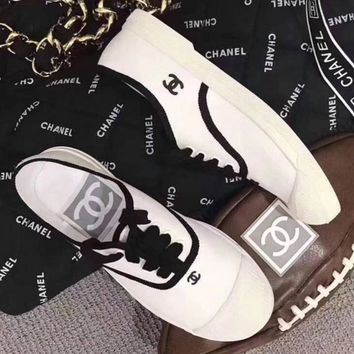 CHANEL  Summer flat canvas casual shoes