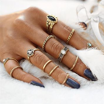 12pc set Vintage Punk Midi Boho Knuckle Rings