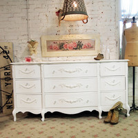 Painted Cottage Chic Shabby White Romantic Dresser DR430
