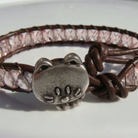 Pink Beaded Leather Bracelet with Cat Button
