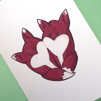 Valentine's day fox card anniversary card heart drawing illustration print