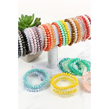 FOUR LINE CRYSTAL BEADS STRETCH BRACELET