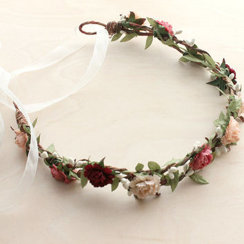 Carnation Floral Crown. Wedding flower crown, Bridal Flower Crown. Woodland, fall, Summer, Bridal headpiece