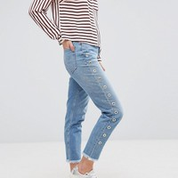 New Look Eyelet Side Mom Jeans at asos.com