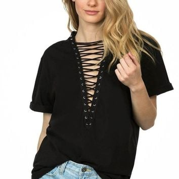 Indie Lace Up Tunic - Black