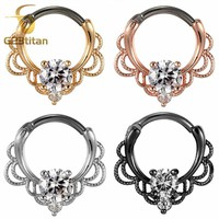 G23titan CZ Nose Rings Septum Clicker 16G G23 Titanium Pole Fashion Body Piercing Jewelry