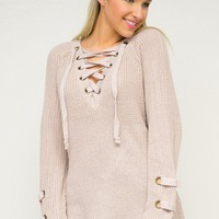 Eyelet Lace Up Sweater Tunic