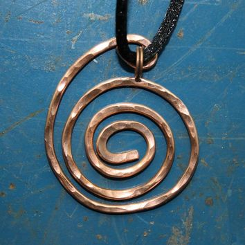 Hammered Recycled Copper Wire Spiral Pendant on Black Satin Knotted Cord