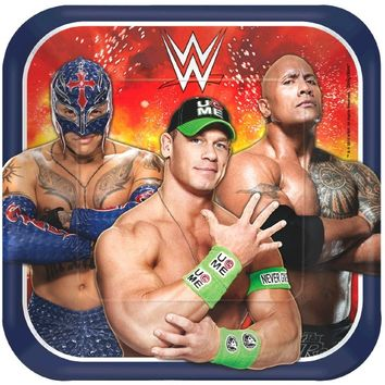 WWE 9 Square Plates [8 per Pack]