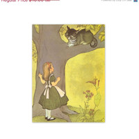 Vintage 1950s Alice in Wonderland Print. Alice and the Cat. Ready to Frame. Baby Nursery, Mid Century. (No. 601)