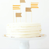 Cake Toppers Boys Birthday Party Orange and Kraft Paper Flag Topper Stripe Pennants Nautical Party Supplies Boy Baby Shower / Set of 5