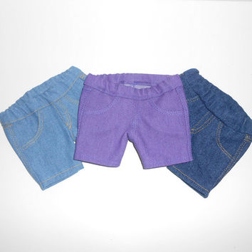 American Girl Doll Clothes 3 pair Denim Crop Jeans Lot Blue and Purple fits 18 inch dolls