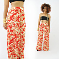 vintage 70s ROYAL red HORSES palazzo pants size XS/S