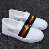 Gucci Old Skool Women Fashion Embroidery Bee Sneakers Sport Shoes