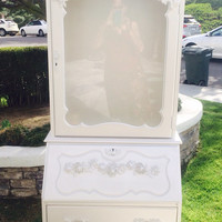 Vintage French Provincial Secretary Desk/ Dresser in Modern Masters Oyster Pearl