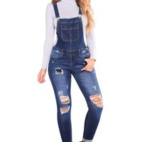 Dark Blue Wash Distressed Denim Overall
