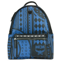 MCM Blue Stark BarBoque Print Small Backpack