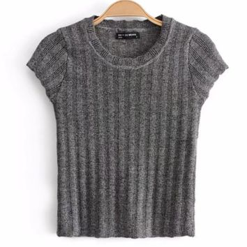 FREE SHIPPING Spring style slim cut round neck with high waist and short sleeve knitted sweater