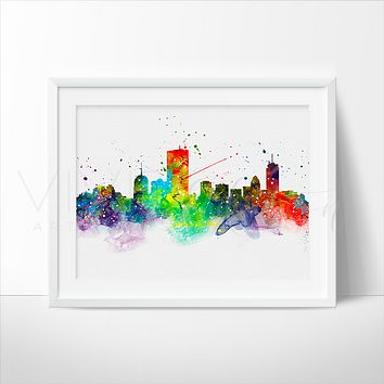 Boston Skyline Watercolor Art Print