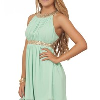 Spring Pastel Gold Sequin Embellishment Halter Mock Neck Mini Chiffon Dress