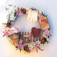 Silk Floral Wreath - Pinks - Outdoor Gardening Wreath - Front Door Ornament
