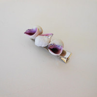 Seashell Hair Clip - Handmade Seashell Hair Accessory - Natural Seashells - Purple Seashells - Seashell Hair Accessory