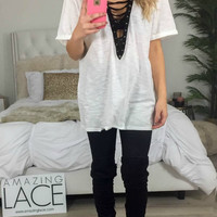 All She Wants Off White Lace Up Top