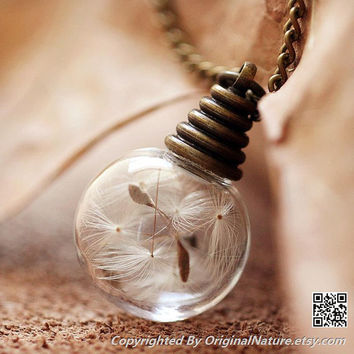 Nature Inspired Jewelry Real Dandelion Necklace Pendant Gift (HM0098)