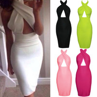 Hollow Chest Backless Bodycon Slim Dress