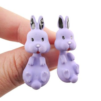 Cute Bunny Rabbit Shaped Two Part Front and Back Stud Earrings in Purple