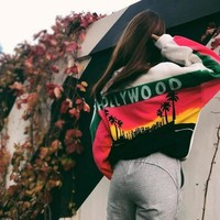Women Casual Personality Multicolor Letter Pattern Print Long Sleeve Sweater Pullover Tops
