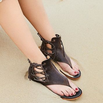Smooth Leather Clip Toe Sandals Ankle Lace Up Flat Slingback Zipper Free Shoes