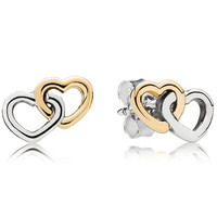 Authentic Pandora Jewelry - Heart to Heart Stud Earrings