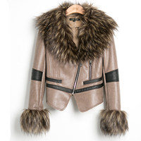 Striped Fur Wool Leather Jackets Outerwear