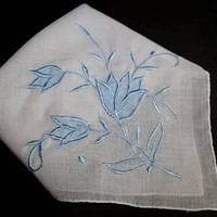 Vintage White Hanky with Blue Tulip Appliqué,Wedding Hanky,White Bridal Handkerchief with Blue Flower & Embroidery,Vintage Linens