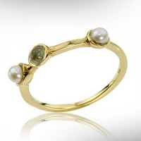 Gemstone ring gold, Labradorite and Pearls ring, Women gemstone rings, Women jewelry gift rings, Women stacking ring,