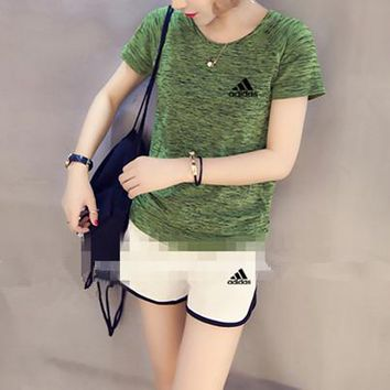 """Adidas"" Women Casual Fashion Letter Logo Print Short Sleeve Shorts Set Two-Piece Yoga Sportswear"