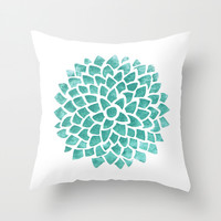 Teal Ice Throw Pillow by Color And Form