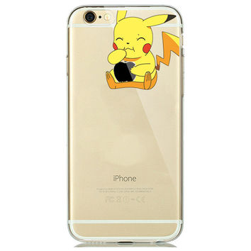 Pickachu Loves Apple Pokemon Soft Phone Case For iPhone 7 6 6s 5 5s SE