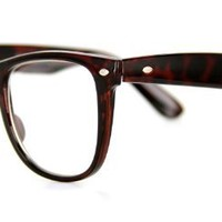 Old Schools Fashion Retro Wayfarer Glasses with RX-Able Frames - 51mm x 18mm x 130mm (Tort)